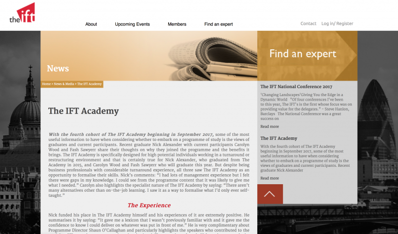 The Academy for The Institute for Turnaround case study copywriting project