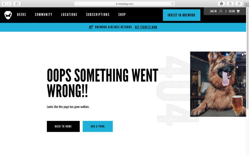 Brewdog 404 error page